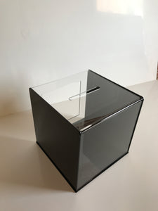 Ballot Box, Collection, suggestion box Black & clear acrylic with Lock & 2 Keys