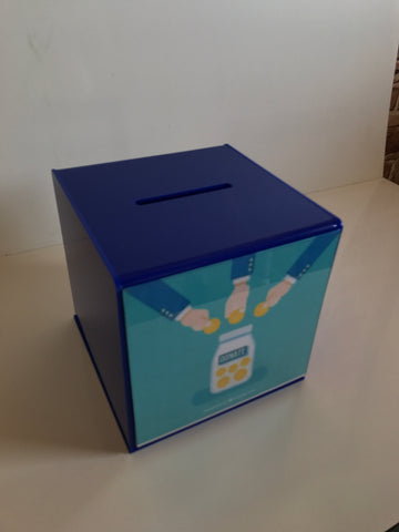 Ballot Box, Collection, suggestion box Blue acrylic with Lock & 2 Keys