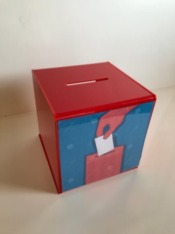 Ballot Box, Collection, suggestion Box Red acrylic with Lock & 2 Keys