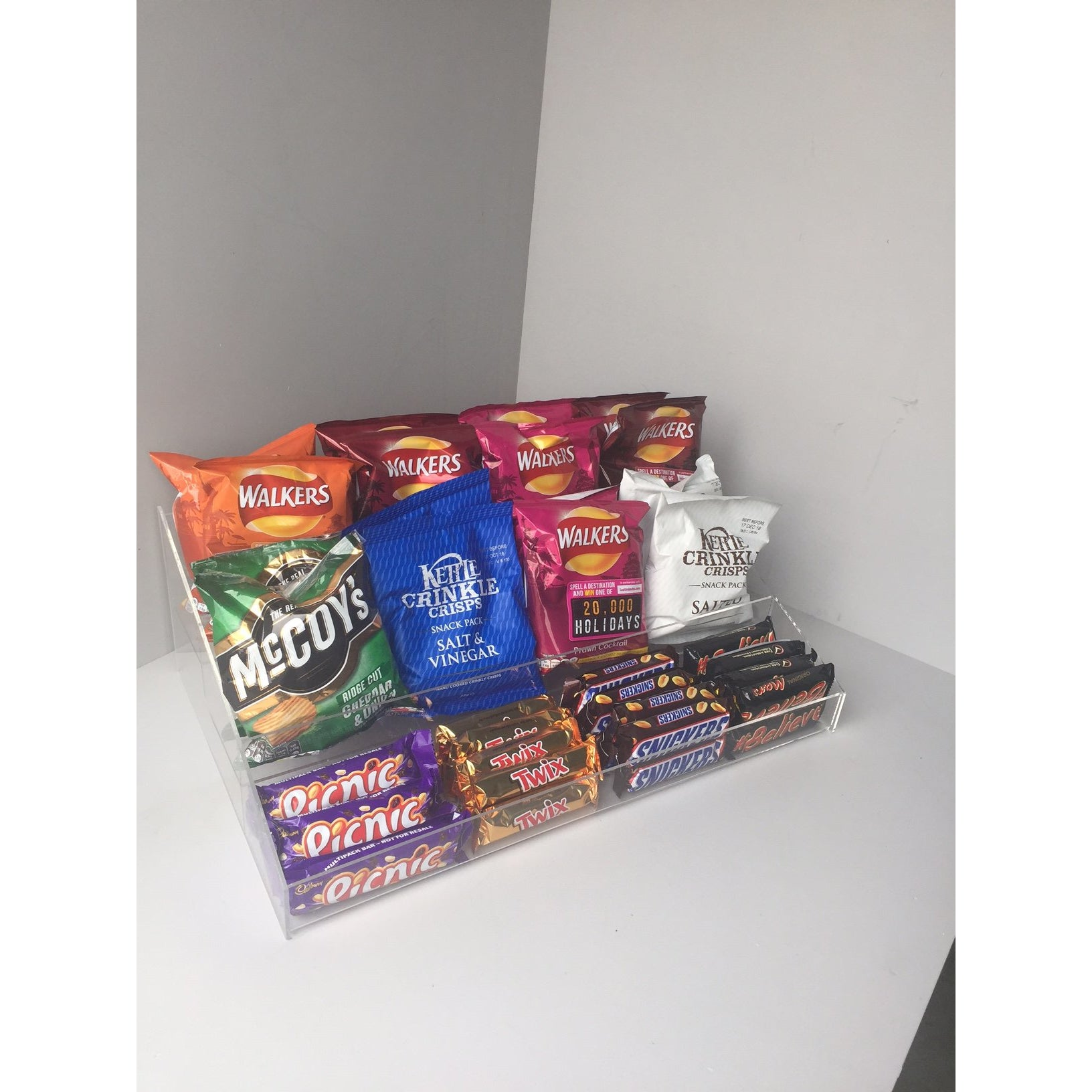 Confectionery, Chocolate bar , Crisps, Condiment etc. 3 Step Counter Display