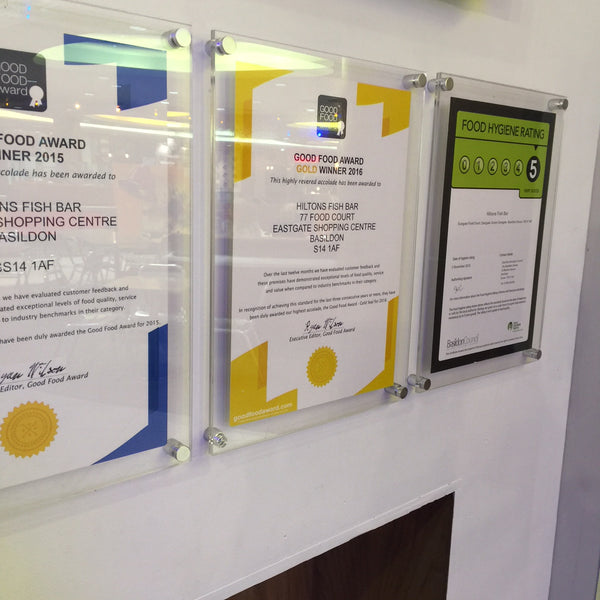 Poster Holder Quality 2 piece wall mount food hygiene diploma, award, certificate, holder.