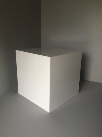 Acrylic Display Cubes Gloss White 200mm Square - 500mm Square