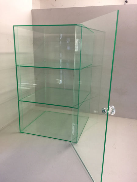 Display Case glass look acrylic cabinet with crystal effect handle