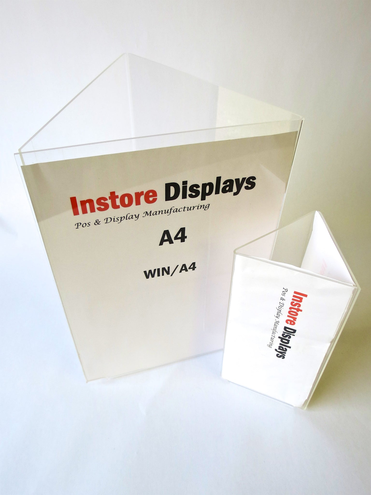 Poster holder A4 3 facing ticket menu holder