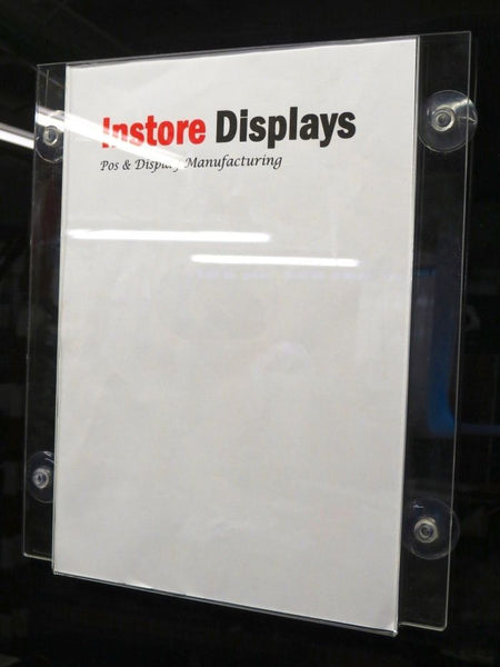 Poster holder with suction cups for window display A4, A3 & A2