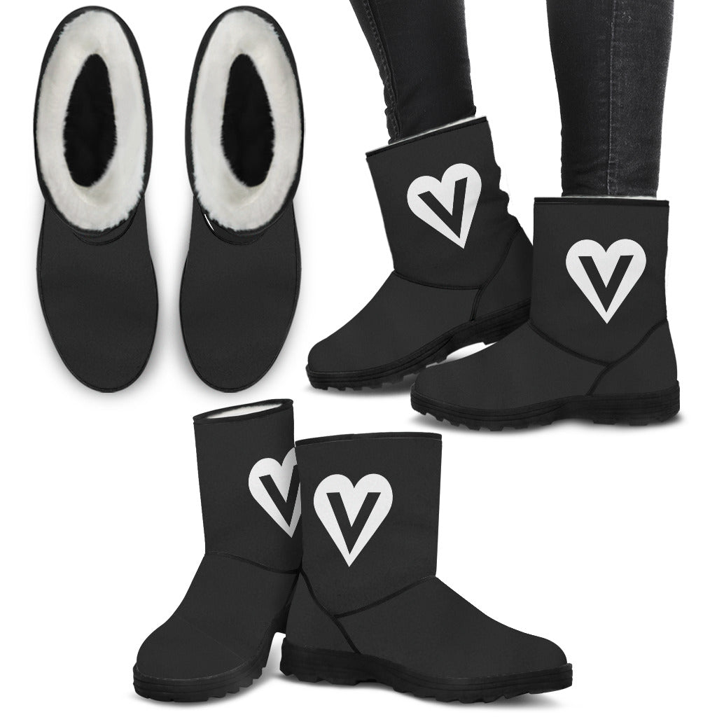 womens' veggie heart logo vegan faux fur uggs inspired winter boots