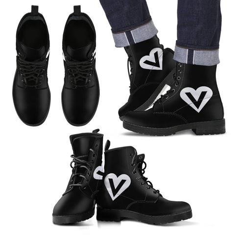 veggie heart logo vegan leather boots side view