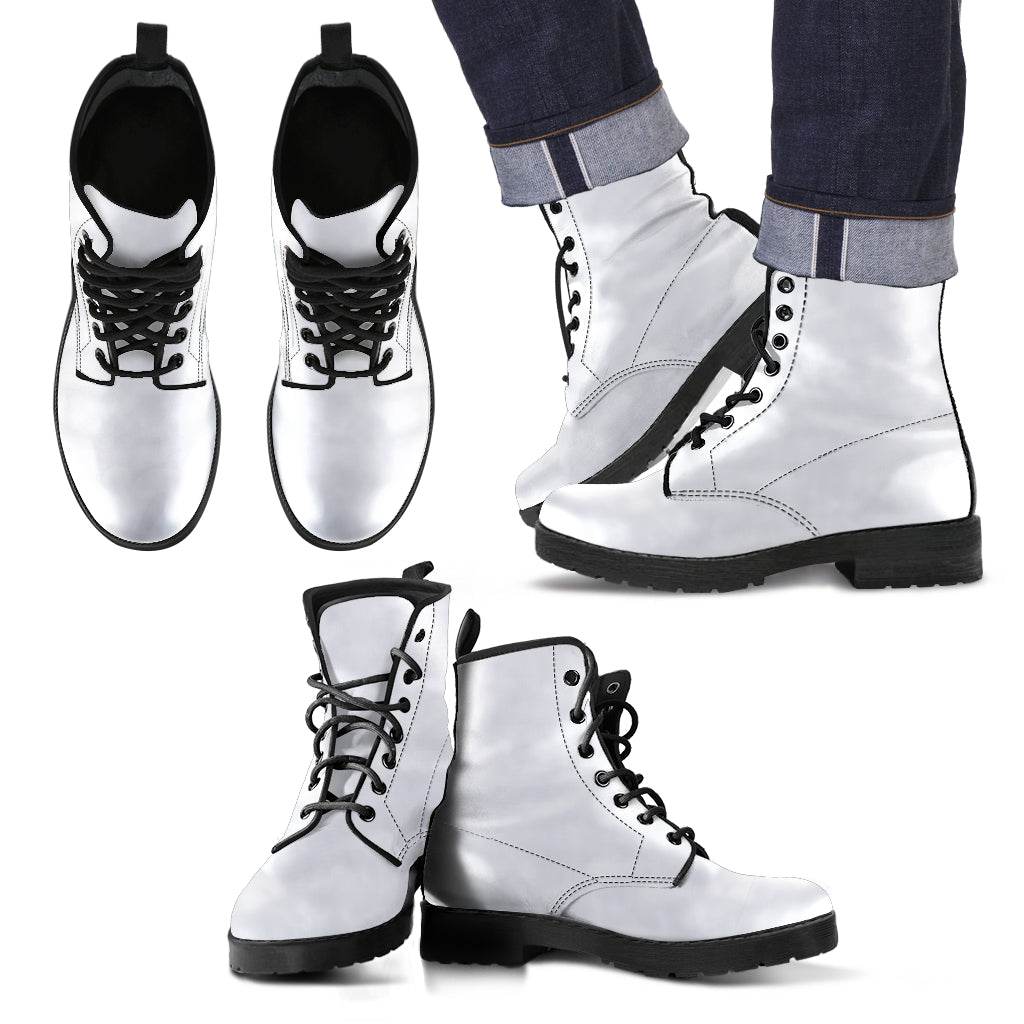 single color premium vegan leather boots, womens in white