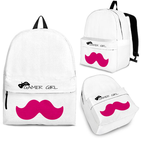 Pink mustache gamer girl premium backpack image