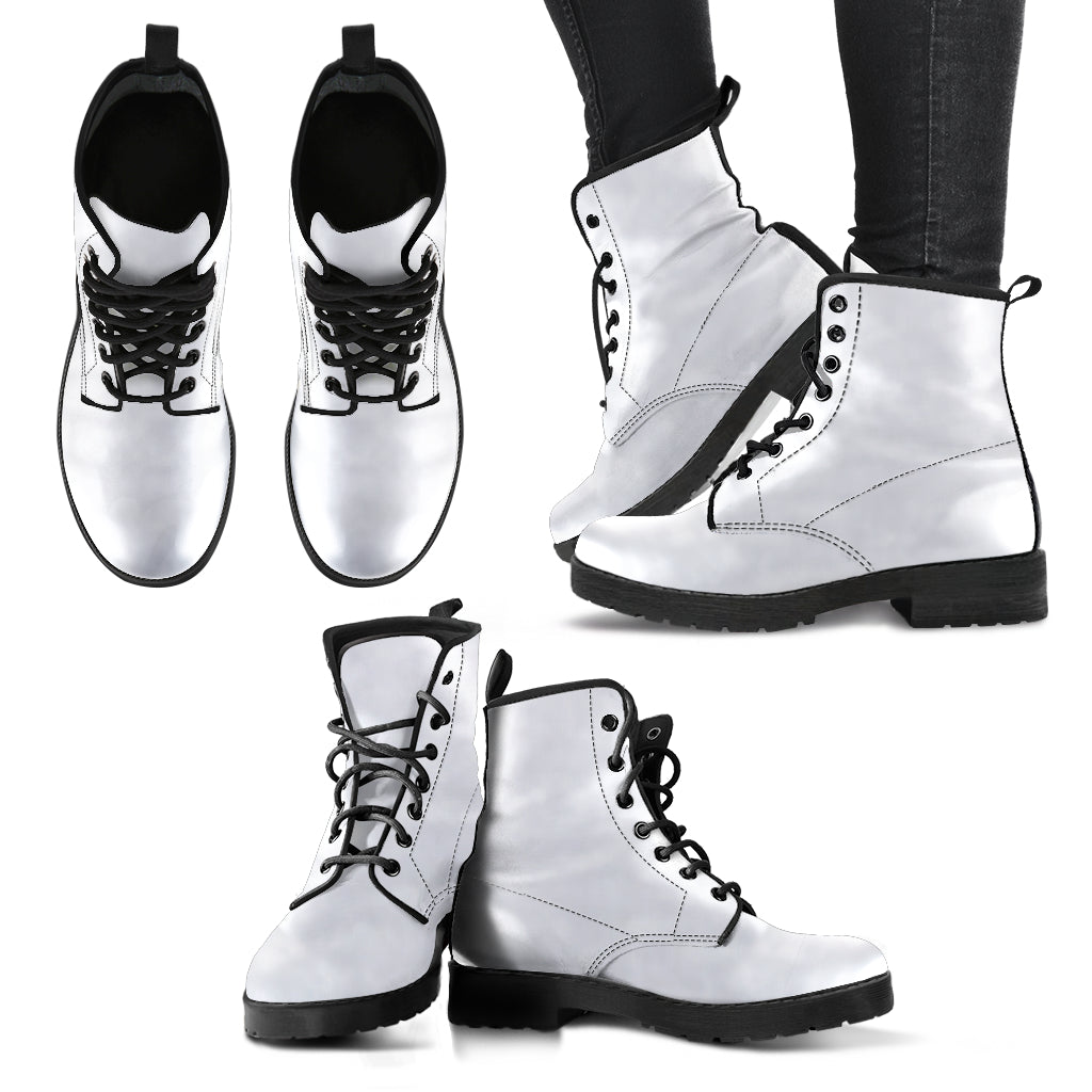 single color premium vegan leather boots, mens in white