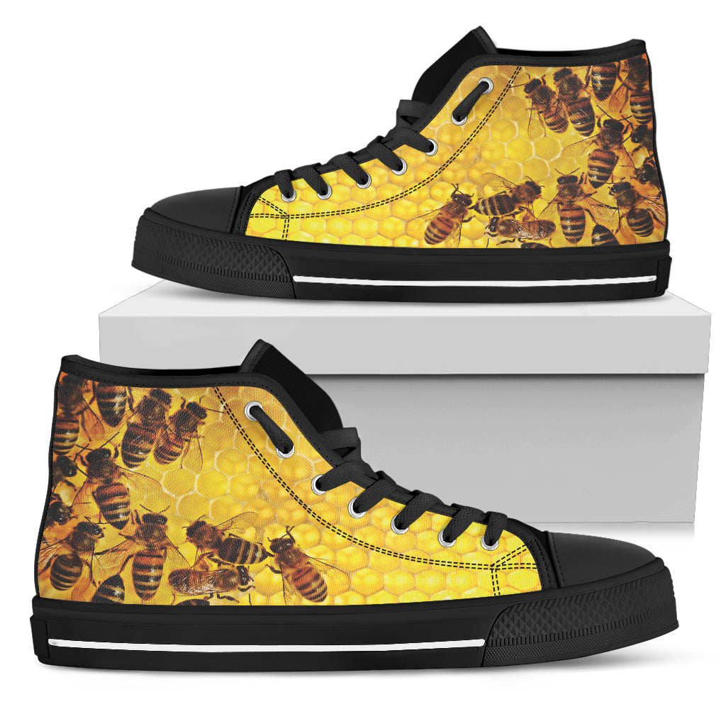 quality vegan friendly beehive bee lovers' hightop canvas sneakers side view copy