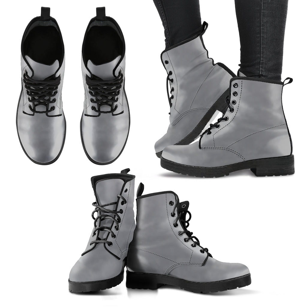 single color premium vegan leather boots, mens in gray