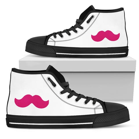 Pink Mustache Hightop Canvas Sneakers