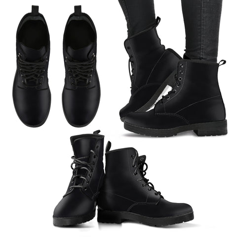 single color premium vegan leather boots, mens in black