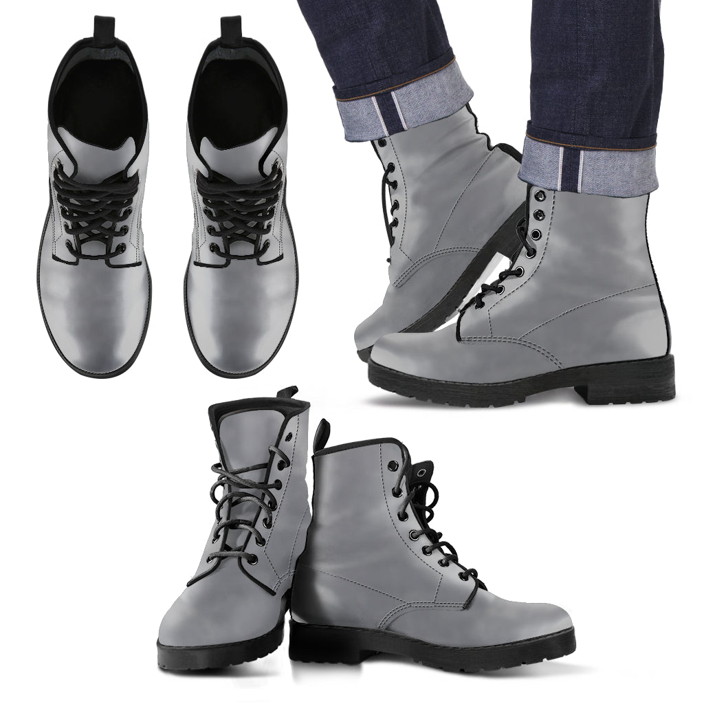 single color premium vegan leather boots, womens in gray