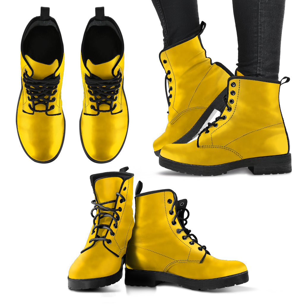 single color premium vegan leather boots, mens in yellow