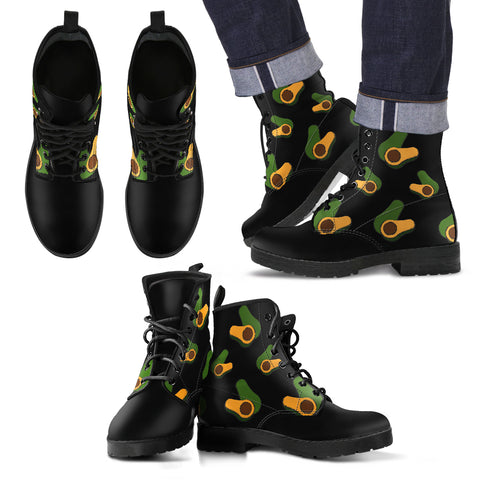 avocado print premium vegan leather boots side view