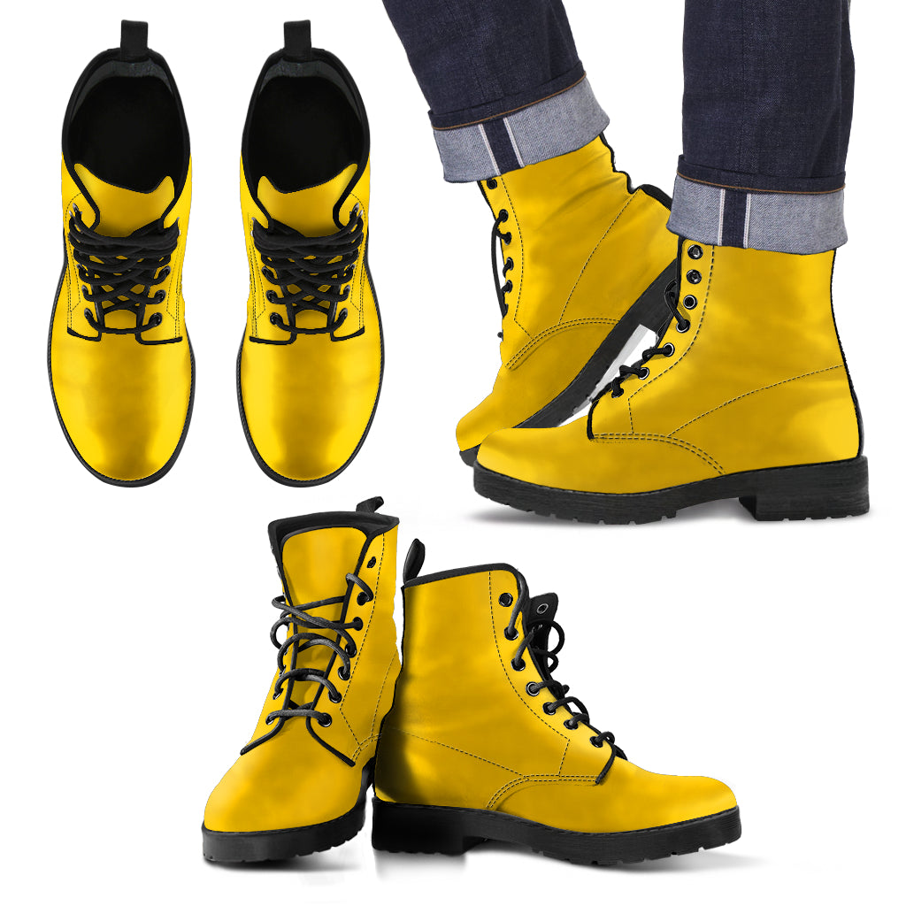 single color premium vegan leather boots, womens in yellow