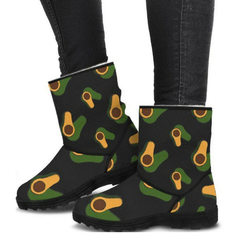 avocado printed vegan faux fur uggs style boots side view