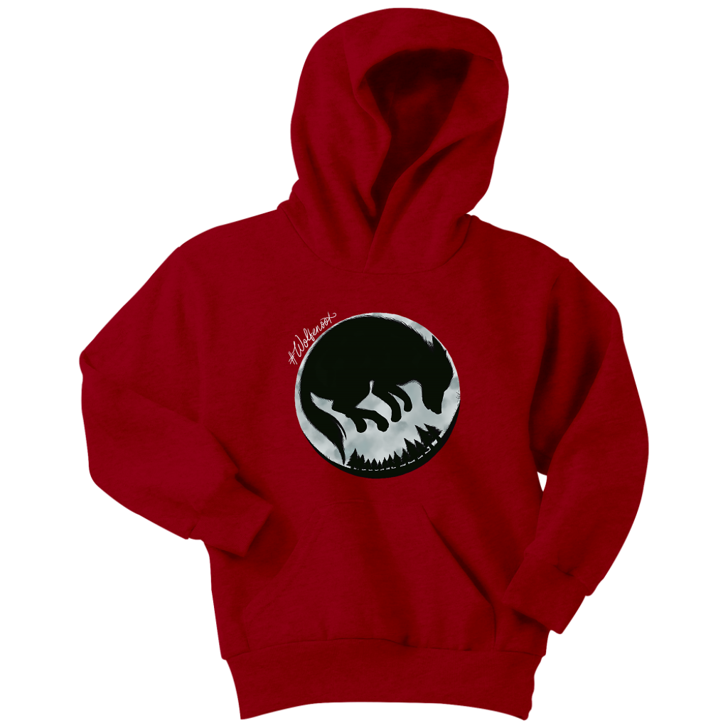 wolfenoot premium childrens' hoodie in red with wolf logo design on front