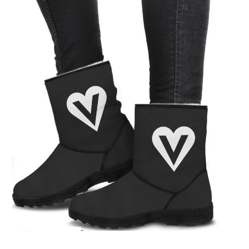 veggie heart logo vegan faux fur uggs inspired winter boots side view