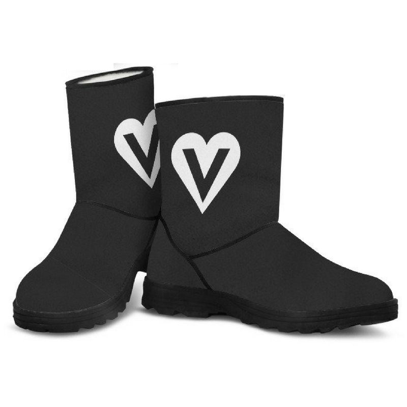 veggie heart logo vegan faux fur uggs inspired winter boots front view