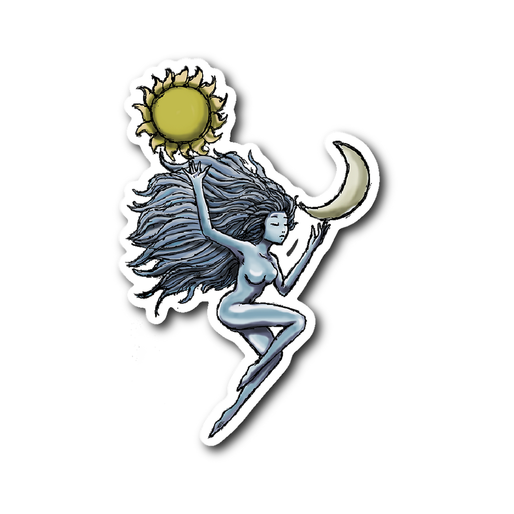 Sun and Moon Vinyl Sticker - Sundogsfire Variety Gifts, Apparel and Accessories