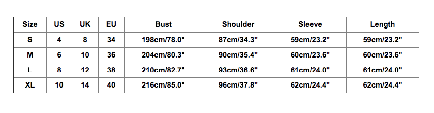 Size chart for two-person ugly Christmas sweater