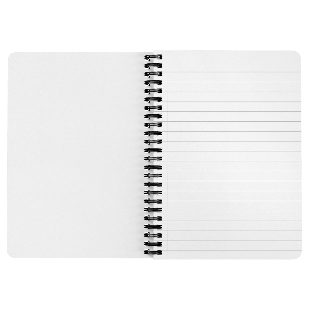wolfenoot premium spiral bound notebook opened flat, showing lined blank pages