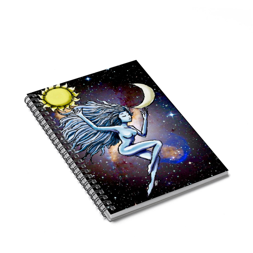 Sun and Moon Ruled Spiral Notebook - Sundogsfire Variety Gifts, Apparel and Accessories
