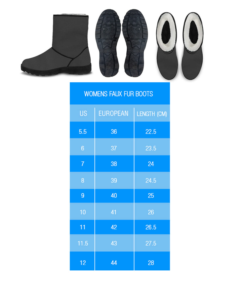 size charts for womens' veggie heart logo vegan faux fur uggs inspired winter boots
