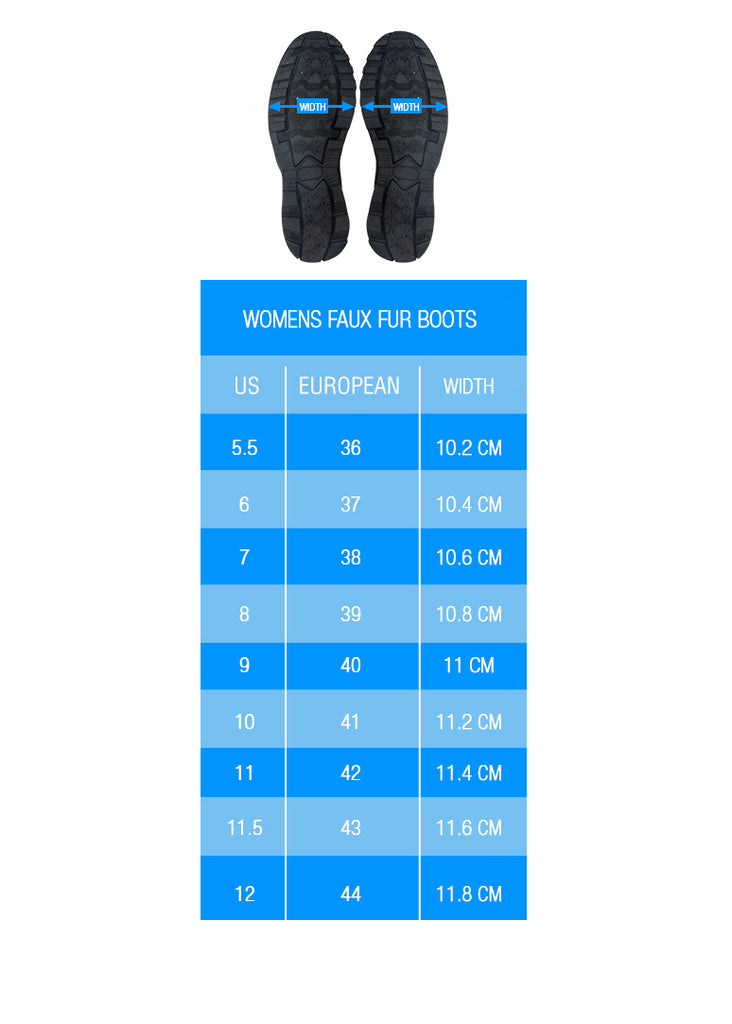 width size charts for veggie heart logo vegan faux fur uggs inspired winter boots