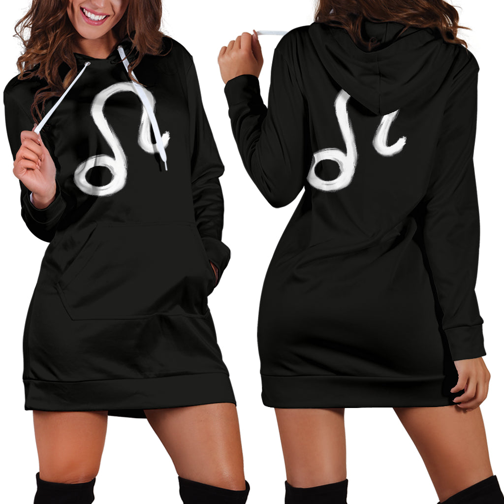 leo hoodie dress, front and back view, girl posing