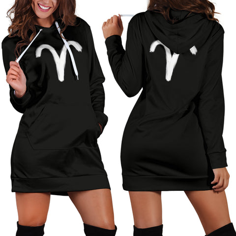 aries hoodie dress, front and back view, girl posing