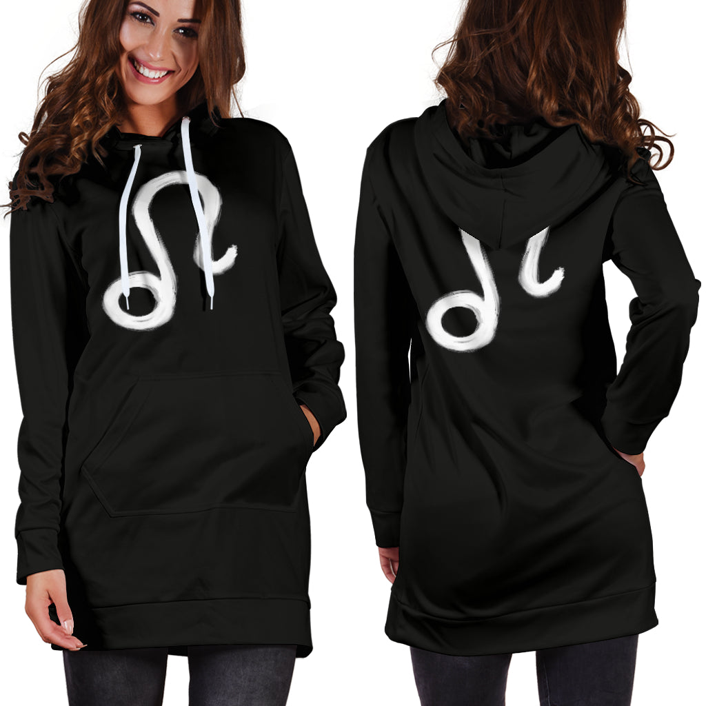 leo hoodie dress, front and back view, girl standing still