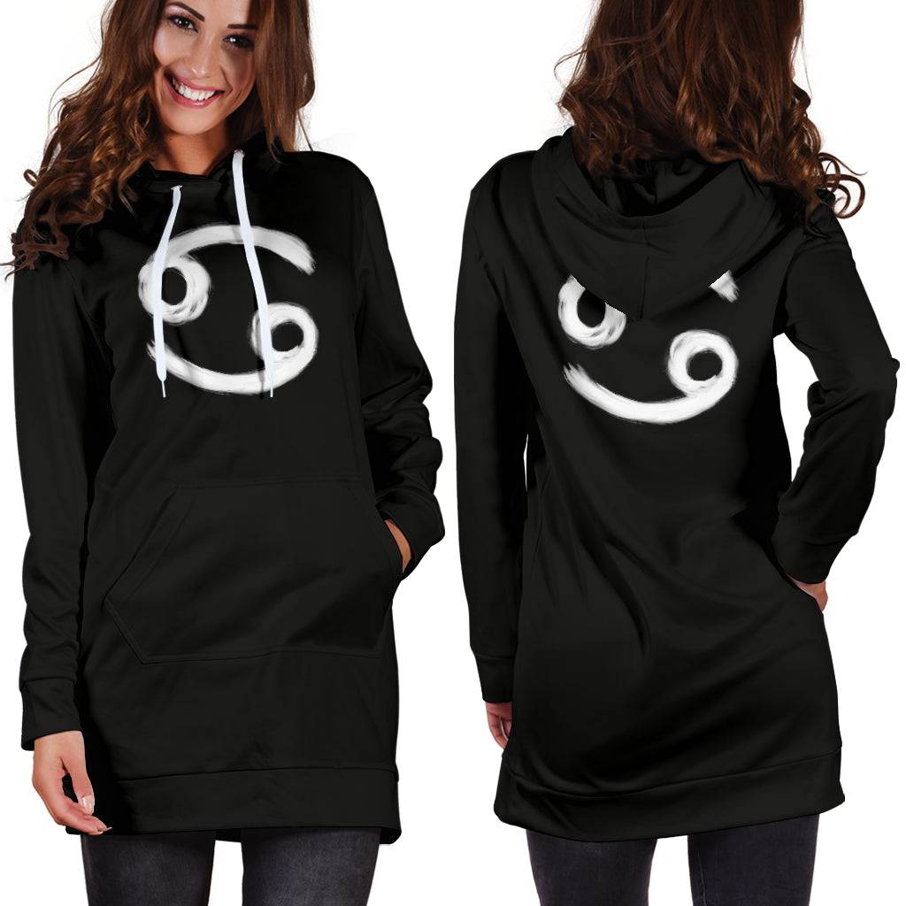 cancer hoodie dress, front and back view, girl standing still