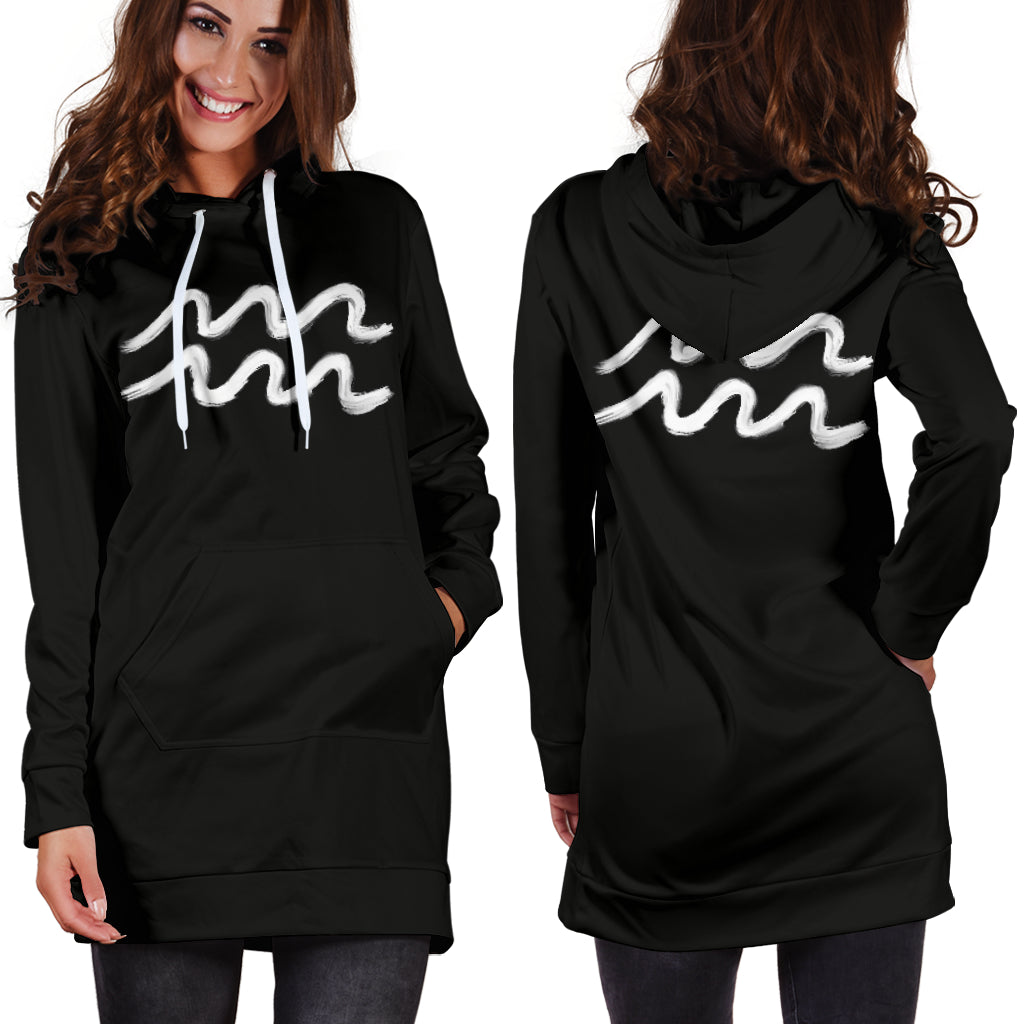 aquarius hoodie dress front and back view standing straight pose