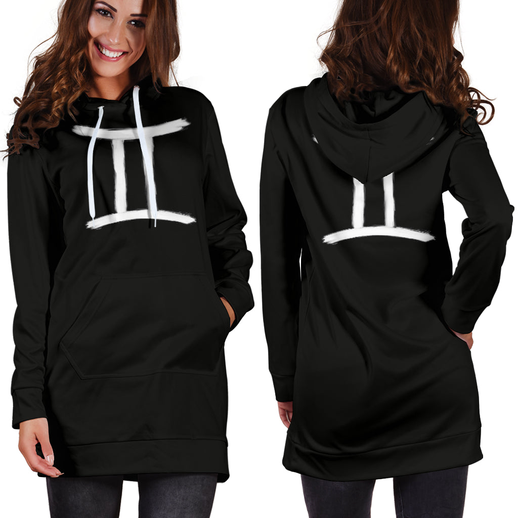 gemini hoodie dress, front and back view, girl standing still