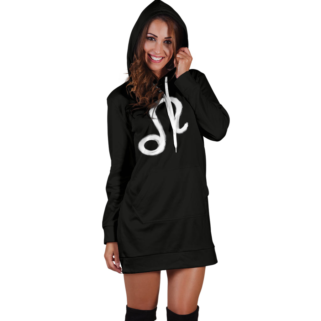 leo hoodie dress, front view, girl standing