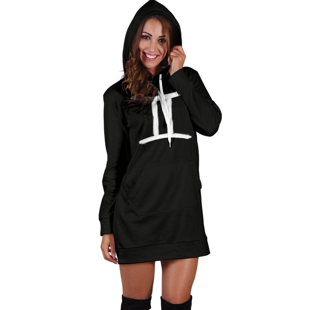gemini hoodie dress, front view, girl standing still