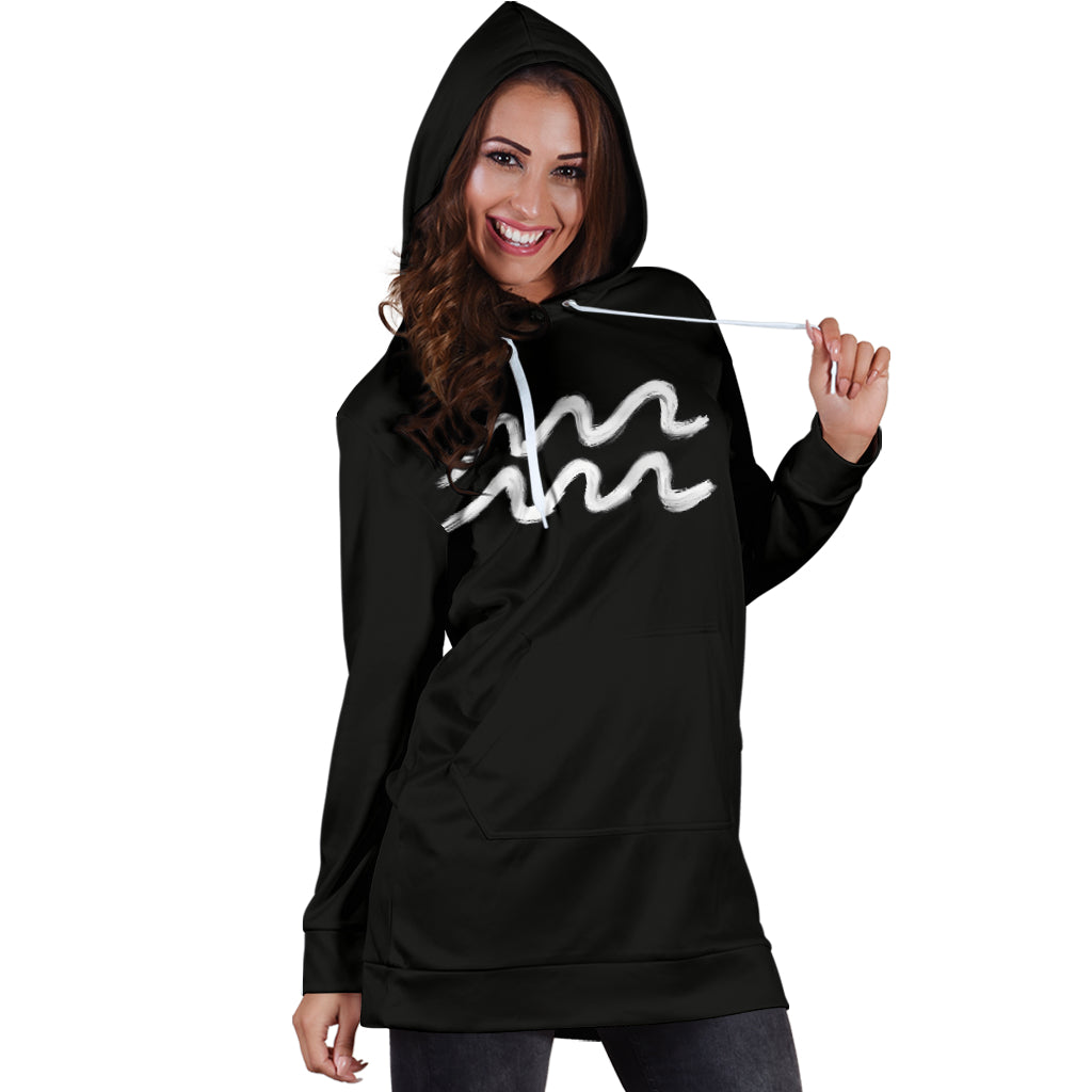 aquarius hoodie dress front view only, girl posing