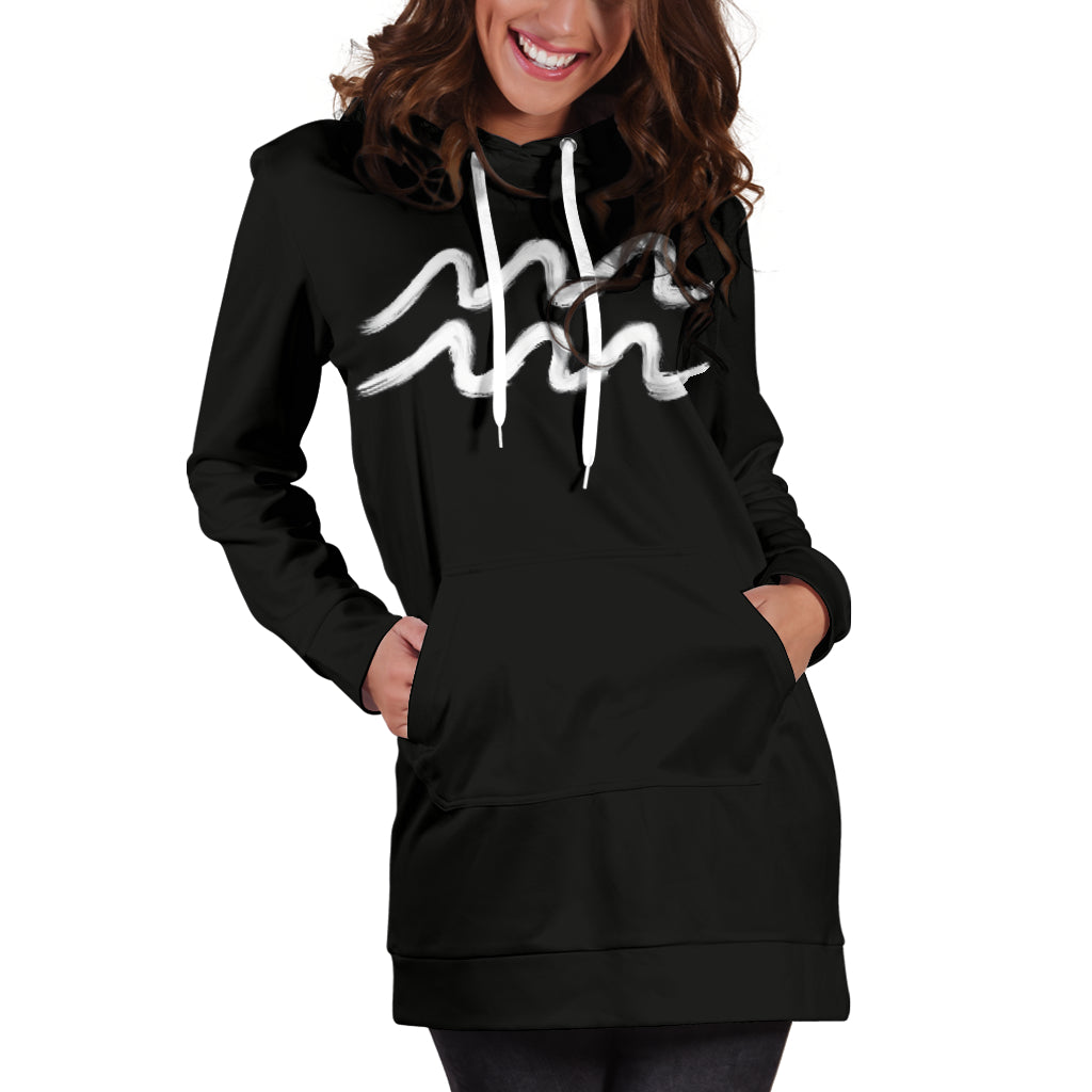 aquarius hoodie dress front view only, hands in pockets