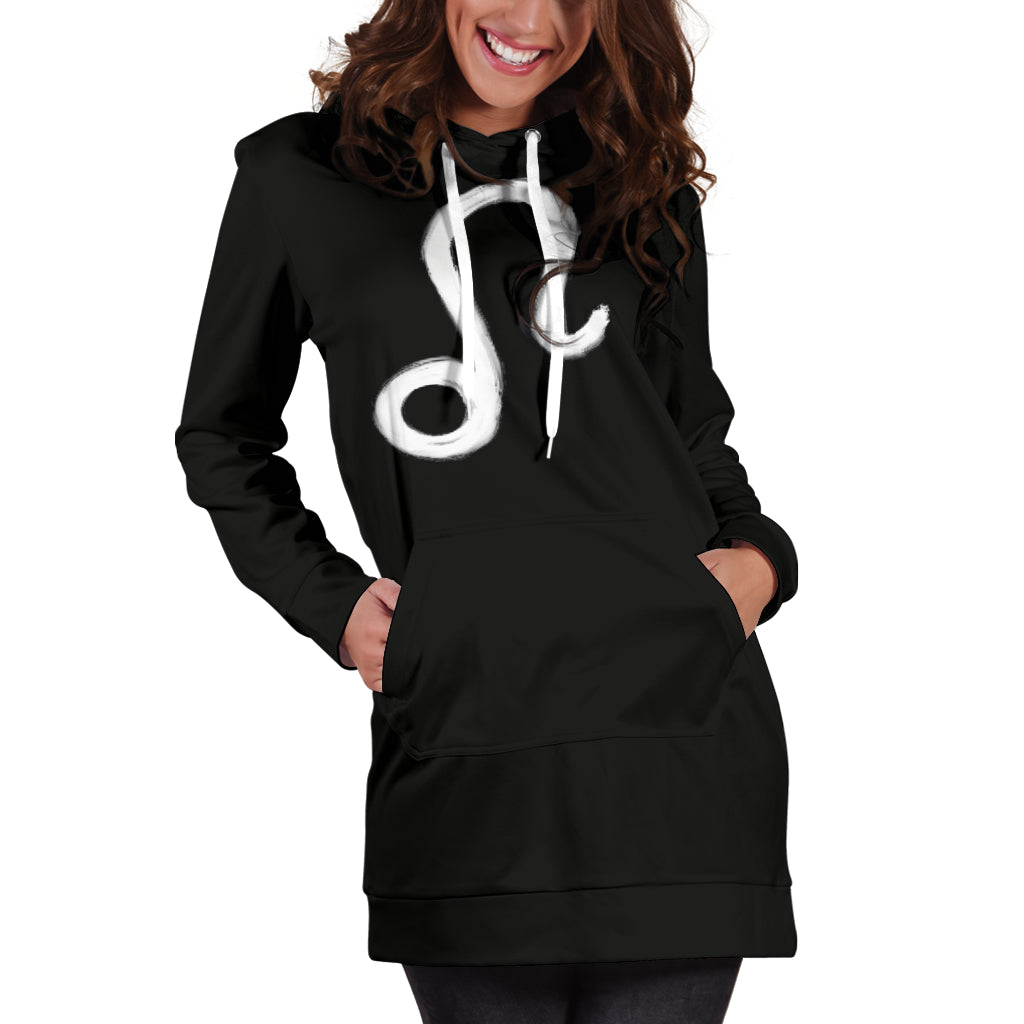 leo hoodie dress, front and back view, hands in pockets