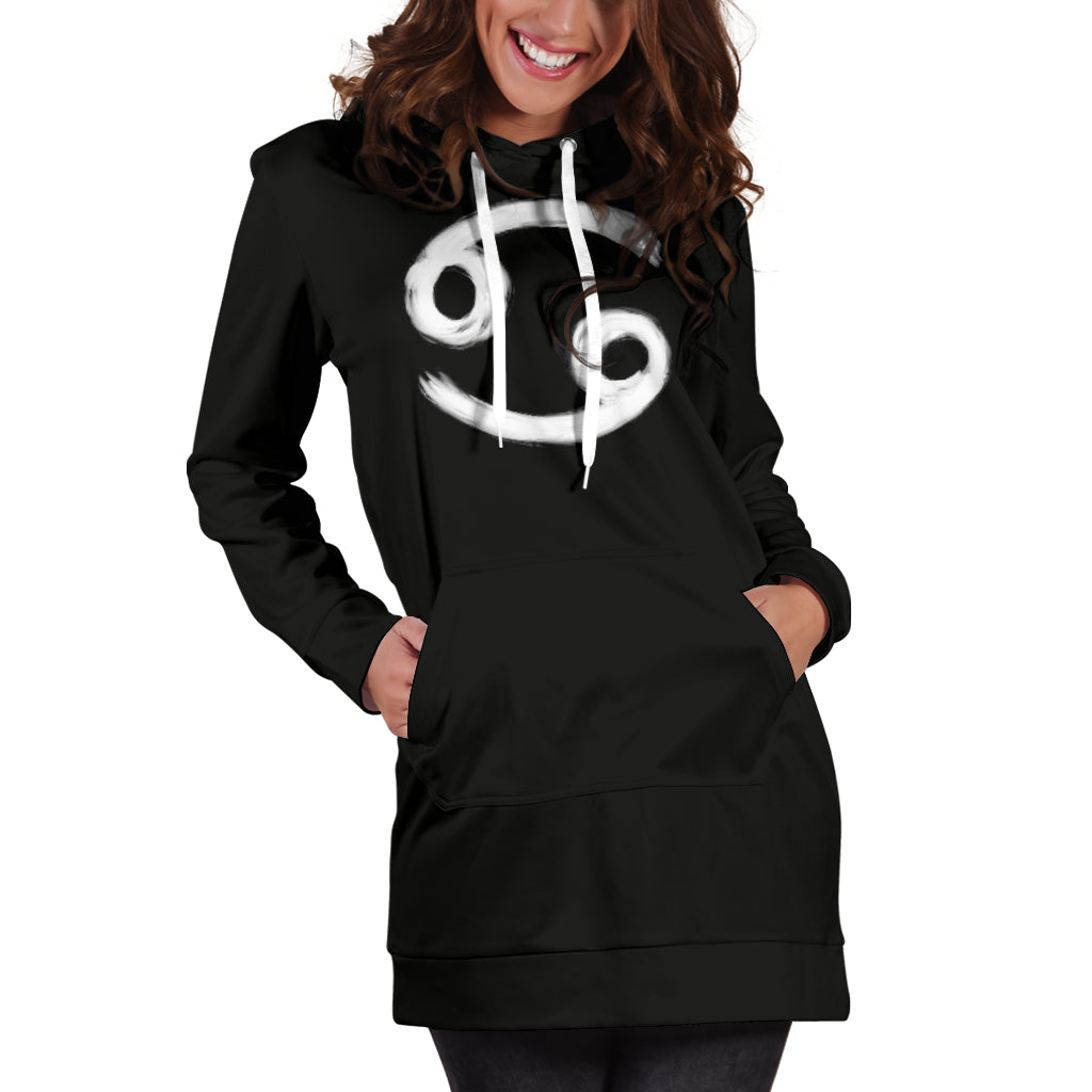 cancer hoodie dress, front view only, girl with hands in pockets