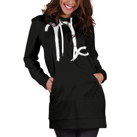 capricorn hoodie dress, front and back view, girl standing still