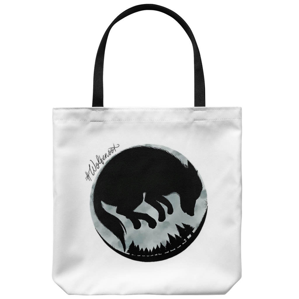 wolf and moon designed premium wolfenoot tote bag