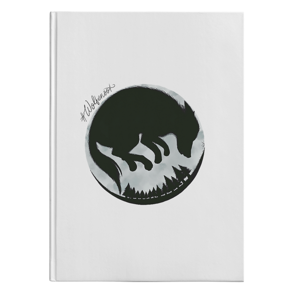 wolfenoot premium hardcover journal front cover with wolf design