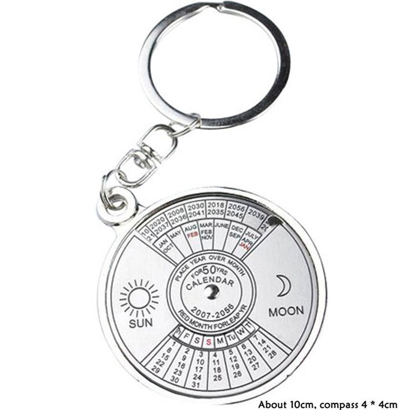 front view of 50 year perpetual calendar keychain on white background image