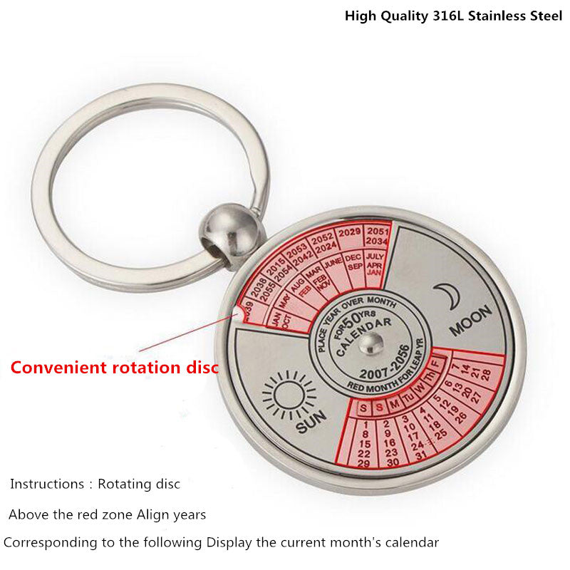 image showing how to change dates on the 50 year perpetual calendar keychain