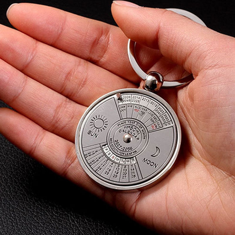 this beautiful 50 year perpetual calendar keychain fits int he palm of your hand